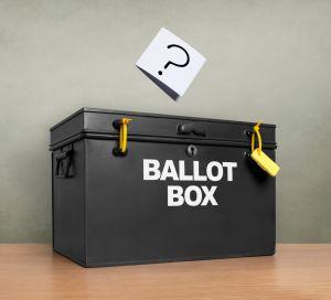 Question mark at the ballot box