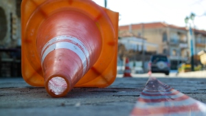 Fallen Traffic Cone On Road