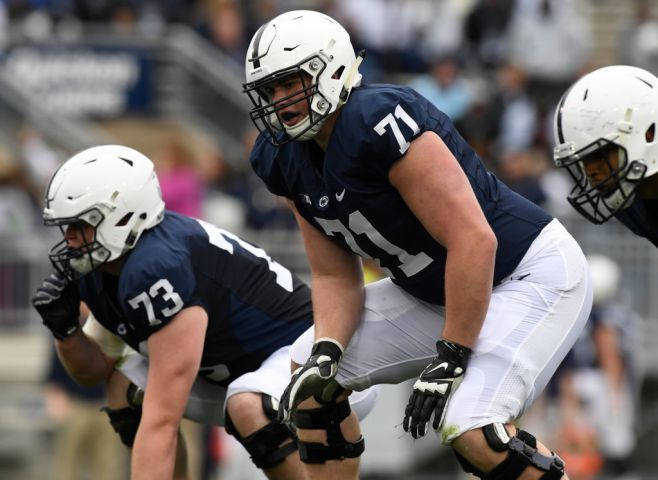 Penn State offensive lineman Will Fries (71)COLLEGE FOOTBALL Penn State Nittany Lions play in the Blue-White game, an annual intra-squad spring practice scrimmage, at Beaver Stadium, University Park. Photo by Jeremy Drey 4/22/2017